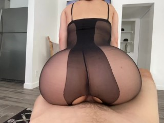 Big Booty Teen Catches Roommate Masturbating and Finishes Him Off