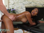 Kinky Spa - Big tit Native ebony Nia Nacci gets massage and pounding