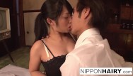 Hairey teens xxx Japanese slut gets her hairy pussy toyed