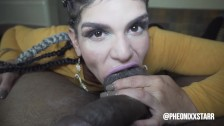 Pheonixxstarr takes cumshot to the face from Freak Mob Media