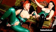 Shiny girl latex Hot latex lesbians rubberdoll shae fatale fuck a shiny metal dildo