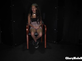 cute girl tries the gloryhole for the 1st time and loves it