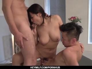 Saki Sudou fantasy sex with two men in home tri