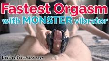 MONSTER vibrator makes him cum in 30 seconds! Double POV