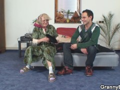 60 Years Nymph Stretches Gams For Him