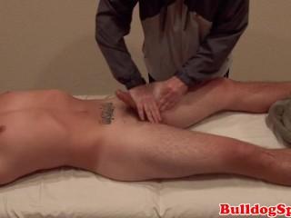 massaged stud gets his big cock wanked