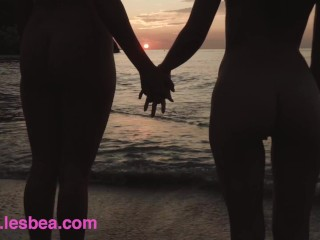 Lesbea British babe Honour May lesbian licking on the beach with Lilu Moon