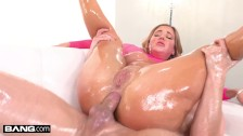 BANG Surprise - Hot Big Tits MILF Oiled And Fucked Rough