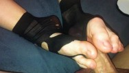 The sock fetish Amateur footjob 44 ripped black nylon socks ballbusting with hot cumshot