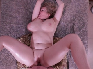 Busty all natural milf deepthroats & gets ass fucked. PAWG anal POV.