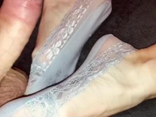 Amateur footjob #45 MILF sexy feet in lace ped socks, hot sockjob and cum