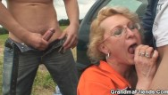 Friends sexy mom Picked up sexy gilf takes double penetration outdoors