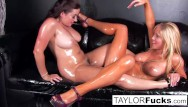 Lesbian teens using really big bottles - Sexy lesbians use glitter baby oil