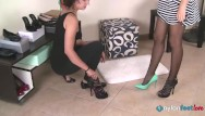 Girls feet lesbian Hot girl and saleswoman shoestore tease