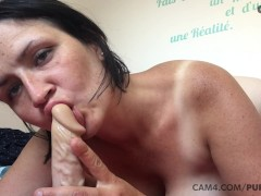 Tanned Mommy Softly Fellates Her Humungous Dildo