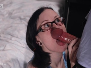 Nerdy Girl Gets Huge Facial After Amazing Blowjob