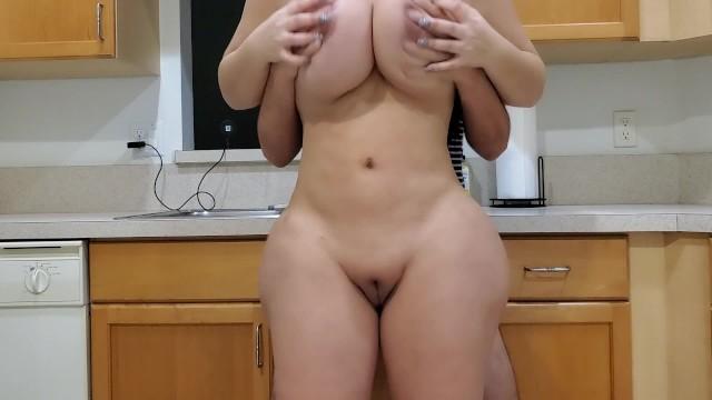 Big Ass Stepmom Fucks Her Stepson In The Kitchen After Seeing His Big Boner