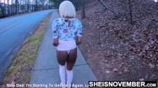 Mom Husband Asked For Upskirt, So I Flashed Him My Ebony Ass In Panties hd