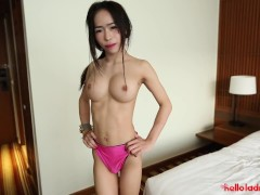 Helloladyboy Jizz Dumped All Over Japanese Shemales Face