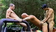 Gay and backdoors Threesome on a jeep in robert prions backdoor advances