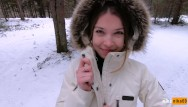 A quick spank sex - I love quick sex outdoors even in winter - cum on my pretty face pov