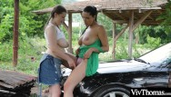 Hitch hiker for sex Voluptuous lesbian picks up sexy hitch hiker and plays with her