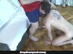 Small Guy Penetrated - Corded Youngster Barebacked Penetrated By Older