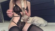 Bisexual black man Bisexual 18 year old in black lingerie and thigh highs takes bong rips