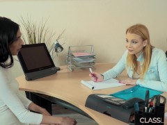 Rbecca And Ashley Hard Sex In The Office For The First Time