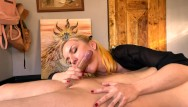 Vintage bamboo table Oil blowjob on a massage table 4k