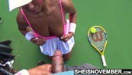 Lucretia stewart giving up sex - Ebony tennis playing giving up head on the court with big tits outside