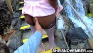 Mini teens xxx Ebony school girl black booty squeezed while at mini golf
