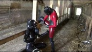 Naked bizarre girls - Latex rubber slave lesbian girls bizarre pissing games heavy gas mask piss
