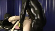 Blue chick gas in latex mask Bondage rubber slave girl in straightjacket fucked by latex gas mask dom