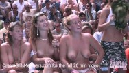 Nudists stripping Exhibitionist wife wet t-shirt contest at a nudist resort
