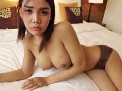 HELLOLADYBOY Thai Asian Ladyboy Begs For Messy Load