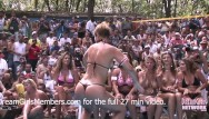 Biknin strip contest - Contest at nudist resort goes completely out of control