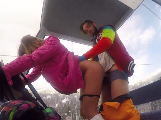 Crazy Fuck with Sexy Girl in the Lift at the Ski Resort POV Amateur Couple