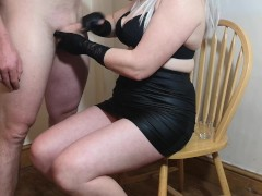 Hubby has his orgasm ruined then licks his cum off my feet!
