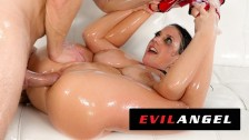 Angela White Fills Ass With Oil & Dick - EvilAngel