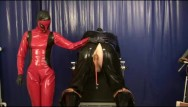 Strap on femdom video - Punishment the rubber slave anal treatment with plugs strap on latex femdom