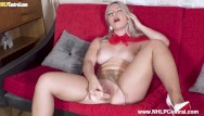 Sexy pantyhose photo galleries - Sexy blonde elle hunter masturbates with dildo toy in torn pantyhose heels