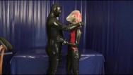 Fetish condoms Rubber slave with latex condom face breath play blowjob breath control game