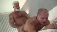 Gay bear action Two silver daddies share holes and loads