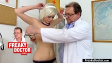 Beautiful Asian babe Lady Dee gets dirty gyno exam by elder doctor