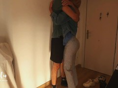 Exhausted Health Care Worker Comes Home To A Enormous Hug - First-timer Leolulu