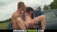 Fucking old blonde Shaved busty blonde granny double fucked for money