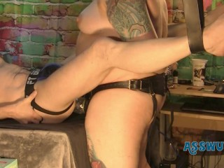 Tattooed Milf Gives Him a Brutal Pegging With A Tongue Biter Strapon