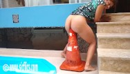 Road haulage ass Latin whore fucks giant road cone in her ass