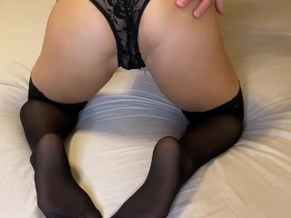 seducing him with stockings and lingerie! Choke me daddy!